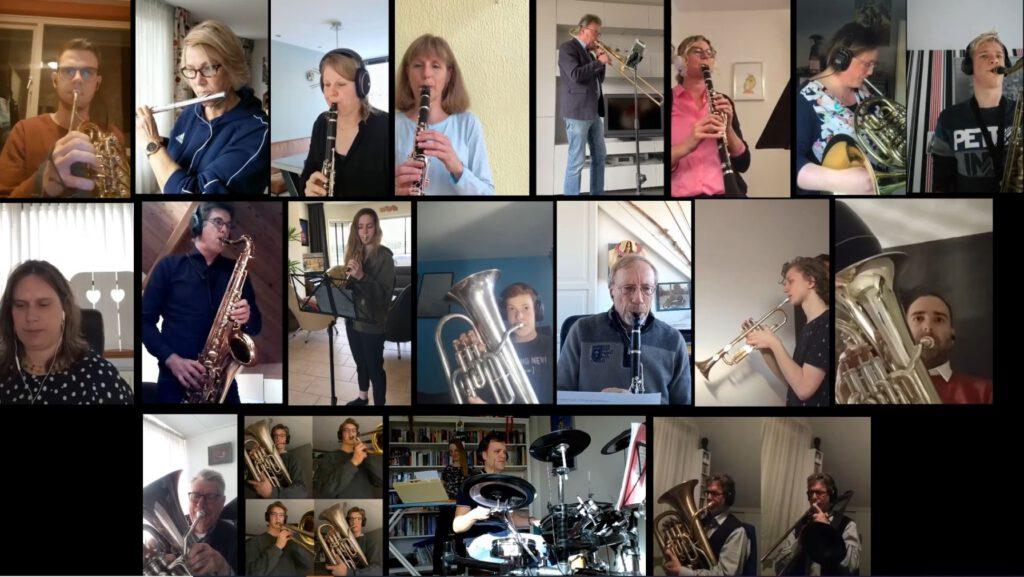 Muziekstuk JUBILOSO door de leden thuis ingespeeld en de digitale uitvoering via Youtube te beluisteren